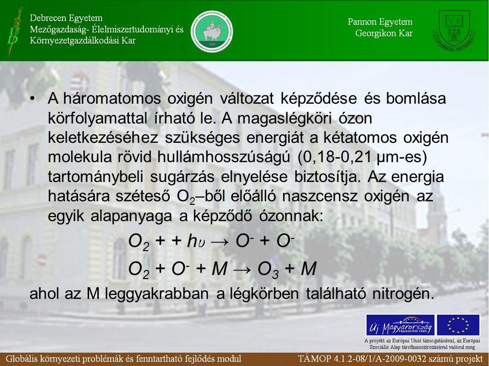 A háromatomos oxigén változat képződése és bomlása körfolyamattal írható le.