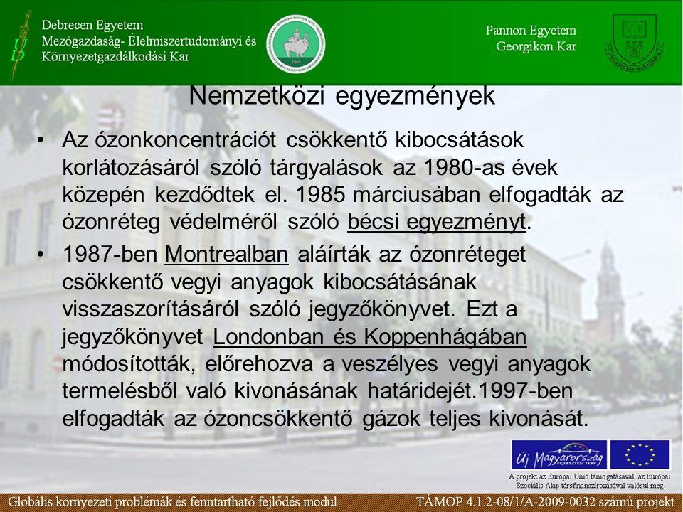 Nemzetközi egyezmények Az ózonkoncentrációt csökkentő kibocsátások korlátozásáról szóló tárgyalások az 1980-as évek közepén kezdődtek el.