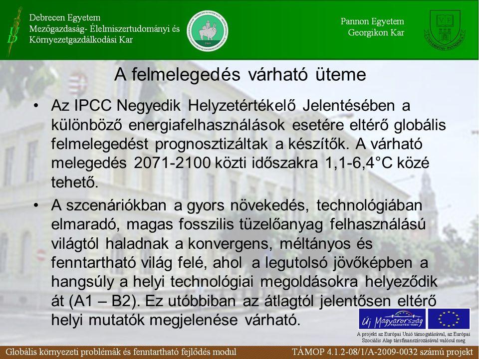 A felmelegedés várható üteme Az IPCC Negyedik Helyzetértékelő Jelentésében a különböző energiafelhasználások esetére eltérő globális felmelegedést prognosztizáltak a készítők.