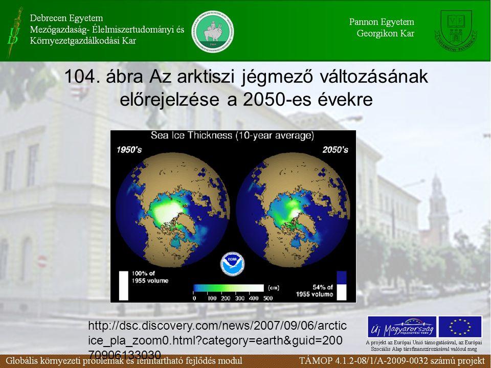 104. ábra Az arktiszi jégmező változásának előrejelzése a 2050-es évekre http://dsc.discovery.com/news/2007/09/06/arctic ice_pla_zoom0.html?category=e