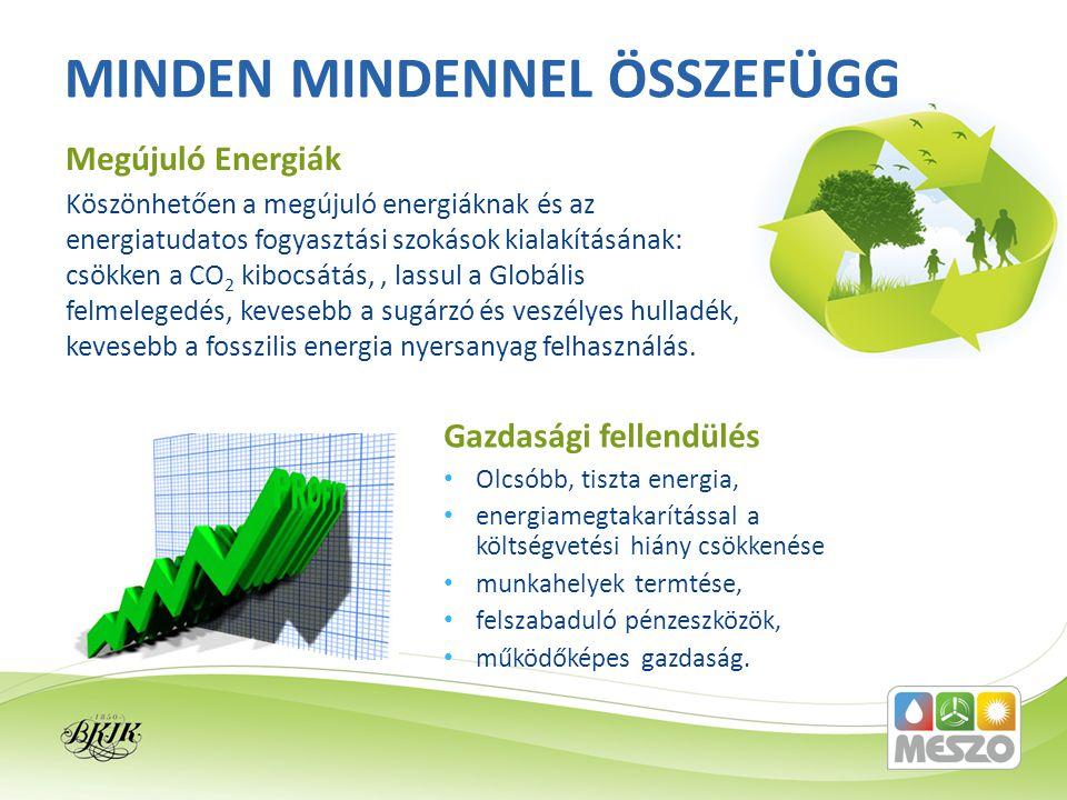 Köszönhetően a megújuló energiáknak és az energiatudatos fogyasztási szokások kialakításának: csökken a CO 2 kibocsátás,, lassul a Globális felmelegedés, kevesebb a sugárzó és veszélyes hulladék, kevesebb a fosszilis energia nyersanyag felhasználás.