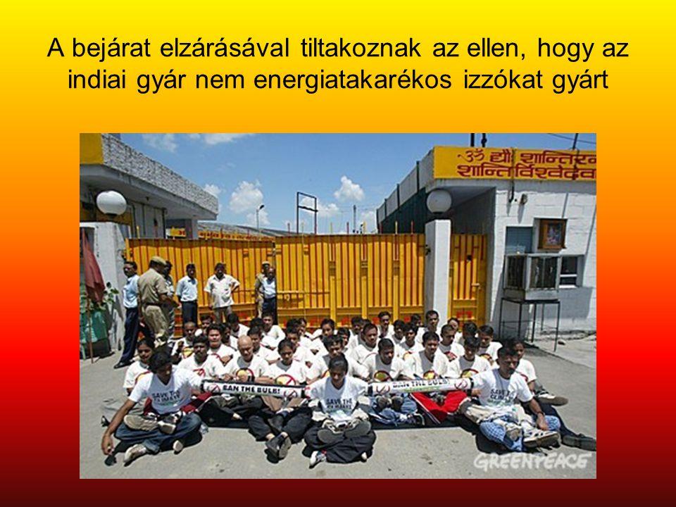 A bejárat elzárásával tiltakoznak az ellen, hogy az indiai gyár nem energiatakarékos izzókat gyárt