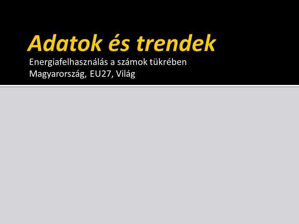 Energiafelhasználás a számok tükrében Magyarország, EU27, Világ