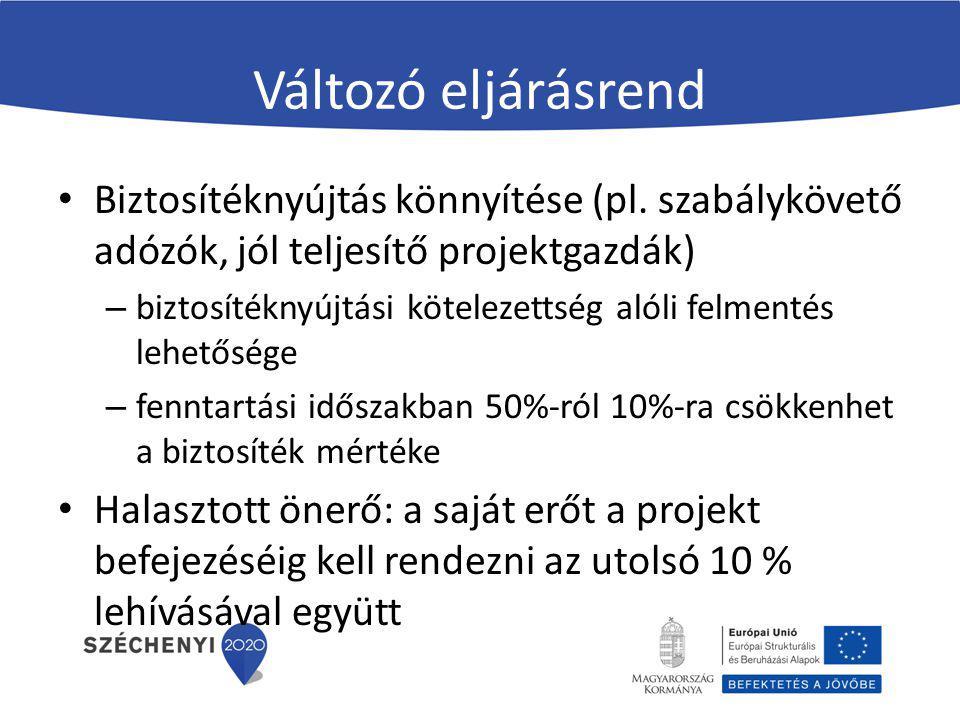 Változó eljárásrend Biztosítéknyújtás könnyítése (pl. szabálykövető adózók, jól teljesítő projektgazdák) – biztosítéknyújtási kötelezettség alóli felm