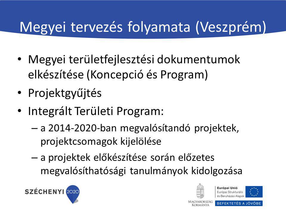 Megyei tervezés folyamata (Veszprém) Megyei területfejlesztési dokumentumok elkészítése (Koncepció és Program) Projektgyűjtés Integrált Területi Progr