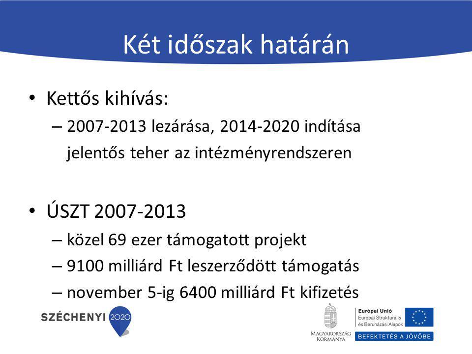 Két időszak határán Kettős kihívás: – 2007-2013 lezárása, 2014-2020 indítása jelentős teher az intézményrendszeren ÚSZT 2007-2013 – közel 69 ezer támo