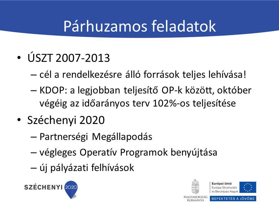 Partnerségi Megállapodás EB augusztus 29-én fogadta el rögzíti a 2020-as célokat, és az ezek eléréshez nyújtott EU-s támogatás nagyságát kohéziós politika keretében közel 25 mrd euró (mintegy 7400 mrd Ft + a hazai önrész) sikeres magyar érdekérvényesítés: – élelmiszeripari feldolgozás finanszírozása ERFA forrásból – alacsonyabb rendű úthálózat fejlesztése – megmaradnak a vissza nem térítendő támogatások a KKV-k számára is