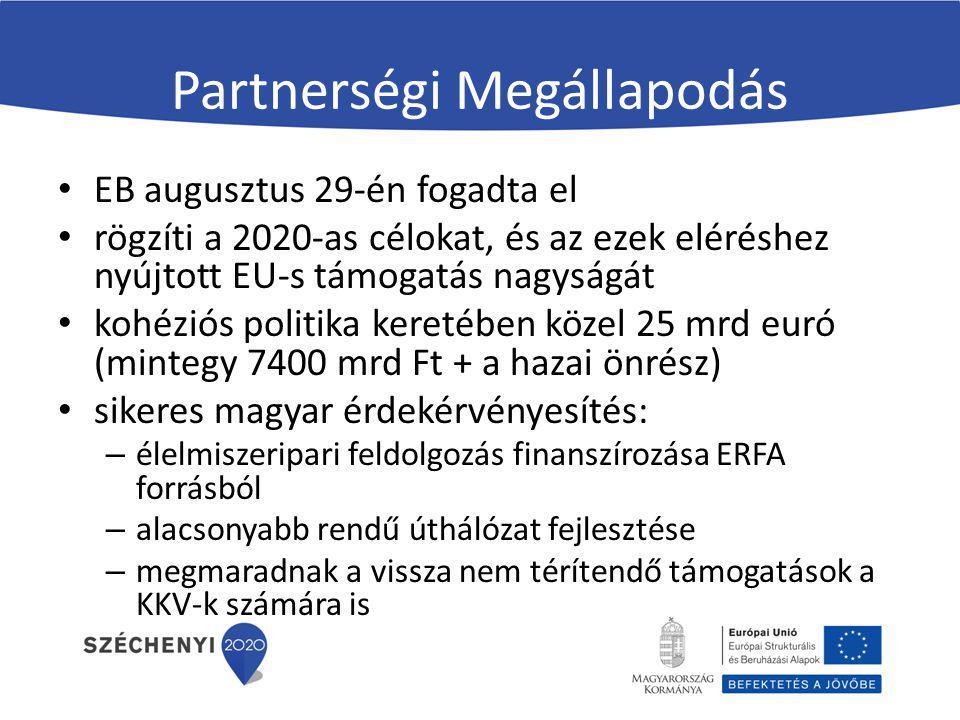 Partnerségi Megállapodás EB augusztus 29-én fogadta el rögzíti a 2020-as célokat, és az ezek eléréshez nyújtott EU-s támogatás nagyságát kohéziós poli