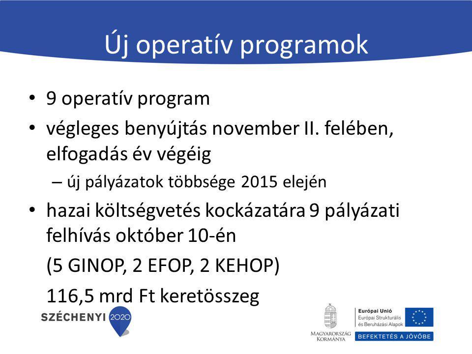 Új operatív programok 9 operatív program végleges benyújtás november II. felében, elfogadás év végéig – új pályázatok többsége 2015 elején hazai költs