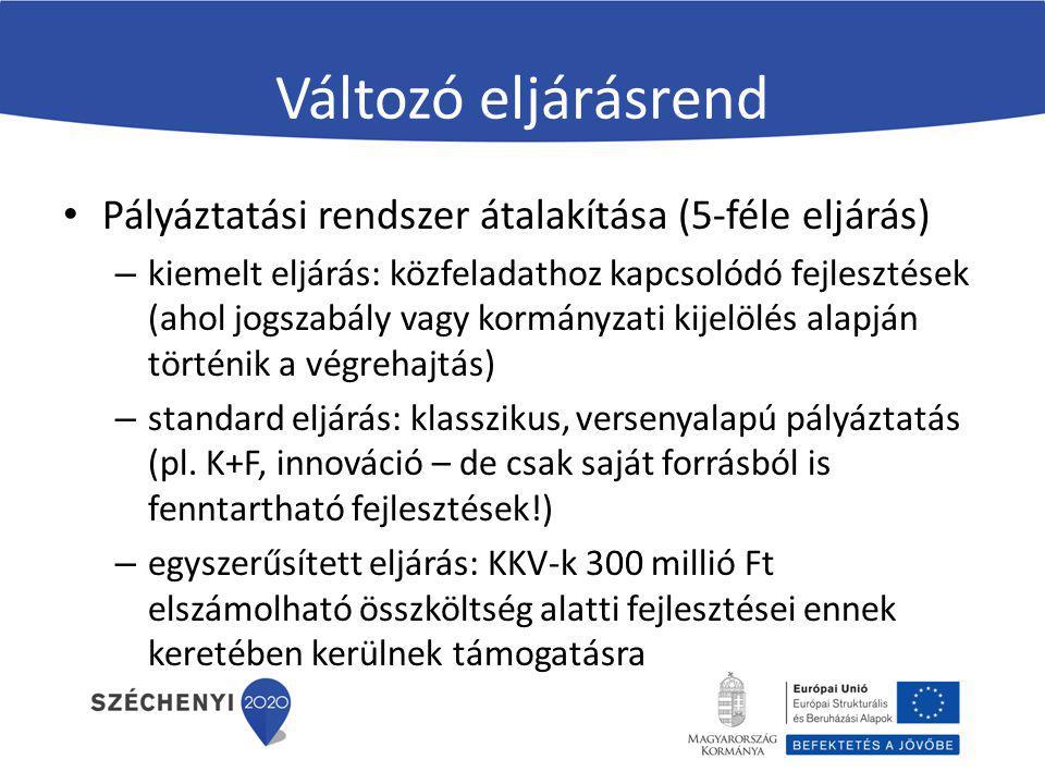 Változó eljárásrend Biztosítéknyújtás könnyítése (pl.