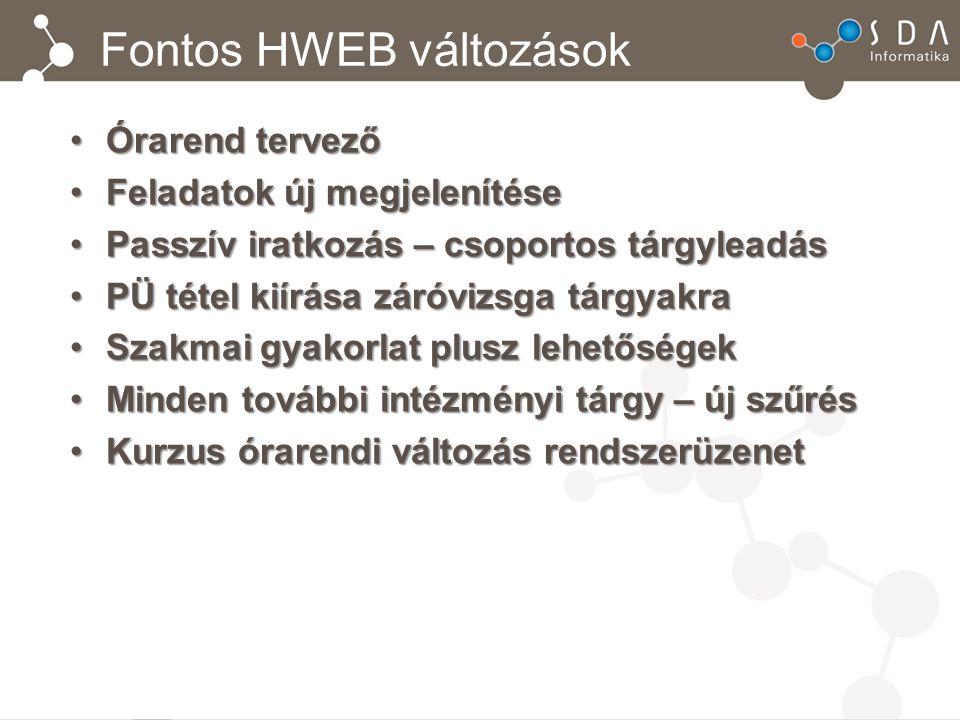 Fontos HWEB változások Órarend tervezőÓrarend tervező Feladatok új megjelenítéseFeladatok új megjelenítése Passzív iratkozás – csoportos tárgyleadásPa