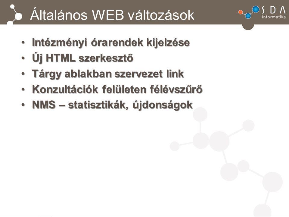 Általános WEB változások Intézményi órarendek kijelzéseIntézményi órarendek kijelzése Új HTML szerkesztőÚj HTML szerkesztő Tárgy ablakban szervezet li