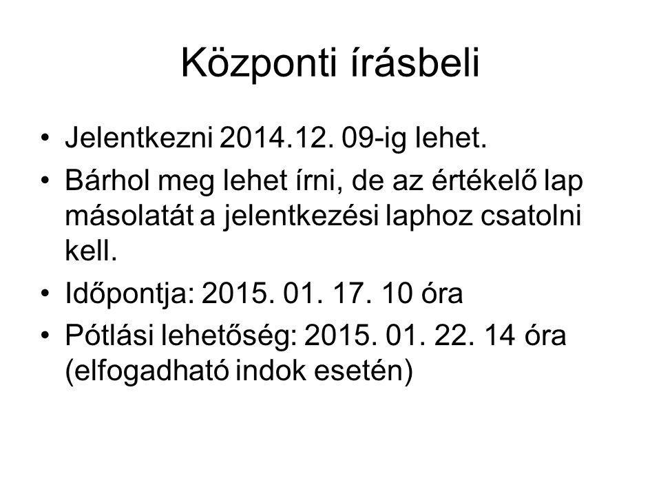 Központi írásbeli Jelentkezni 2014.12. 09-ig lehet. Bárhol meg lehet írni, de az értékelő lap másolatát a jelentkezési laphoz csatolni kell. Időpontja