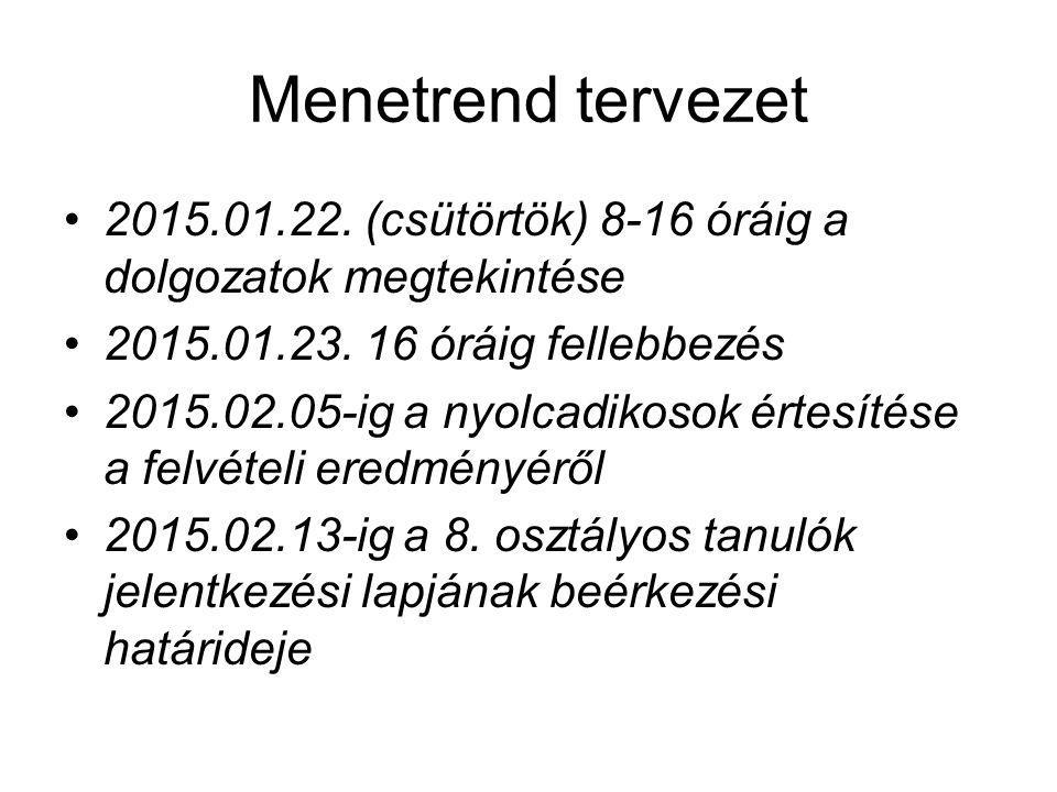 Menetrend tervezet 2015.01.22. (csütörtök) 8-16 óráig a dolgozatok megtekintése 2015.01.23.