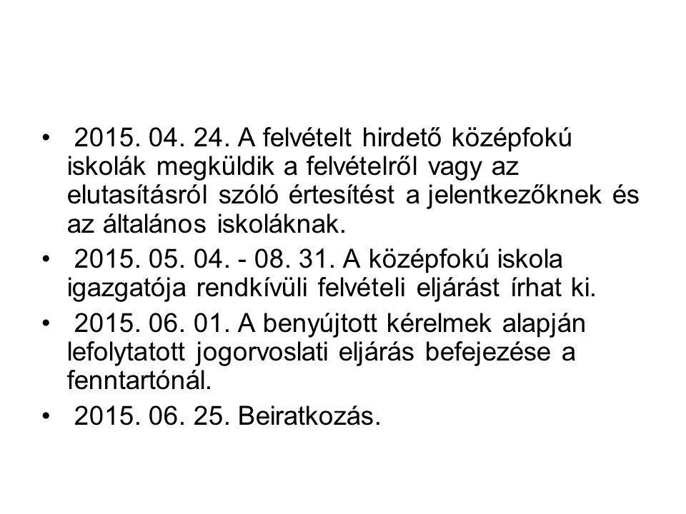 2015. 04. 24. A felvételt hirdető középfokú iskolák megküldik a felvételről vagy az elutasításról szóló értesítést a jelentkezőknek és az általános is