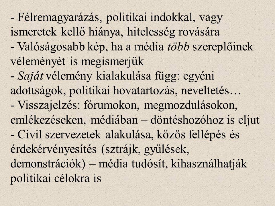 - Félremagyarázás, politikai indokkal, vagy ismeretek kellő hiánya, hitelesség rovására - Valóságosabb kép, ha a média több szereplőinek véleményét is megismerjük - Saját vélemény kialakulása függ: egyéni adottságok, politikai hovatartozás, neveltetés… - Visszajelzés: fórumokon, megmozdulásokon, emlékezéseken, médiában – döntéshozóhoz is eljut - Civil szervezetek alakulása, közös fellépés és érdekérvényesítés (sztrájk, gyűlések, demonstrációk) – média tudósít, kihasználhatják politikai célokra is