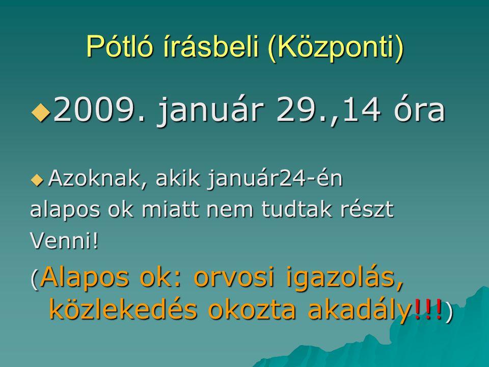 Pótló írásbeli (Központi)  2009.