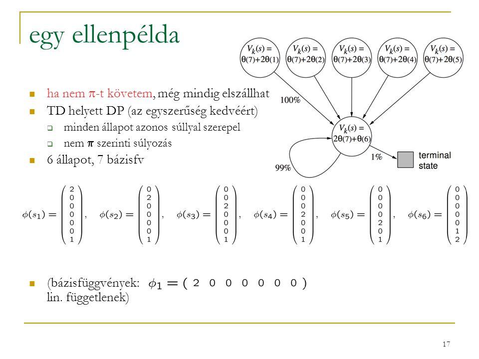 17 egy ellenpélda ha nem  -t követem, még mindig elszállhat TD helyett DP (az egyszerűség kedvéért)  minden állapot azonos súllyal szerepel  nem 