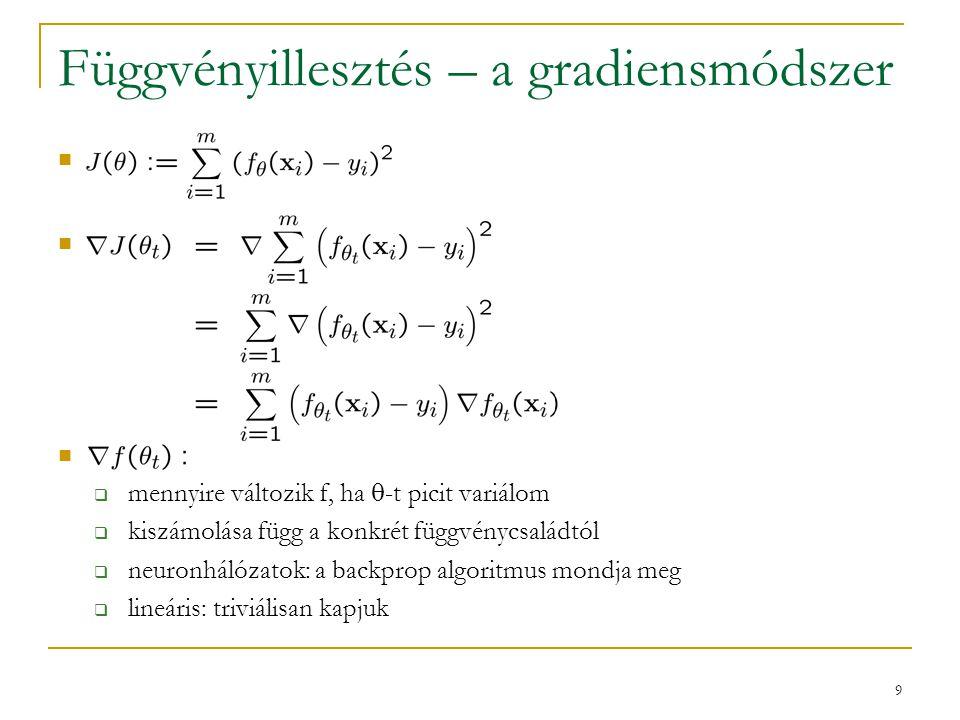 9 Függvényillesztés – a gradiensmódszer  mennyire változik f, ha  -t picit variálom  kiszámolása függ a konkrét függvénycsaládtól  neuronhálózatok