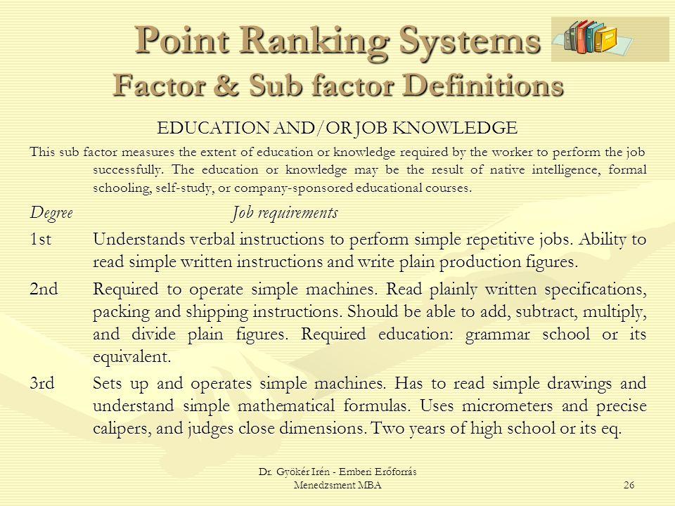 Dr. Gyökér Irén - Emberi Erőforrás Menedzsment MBA26 Point Ranking Systems Factor & Sub factor Definitions EDUCATION AND/OR JOB KNOWLEDGE This sub fac