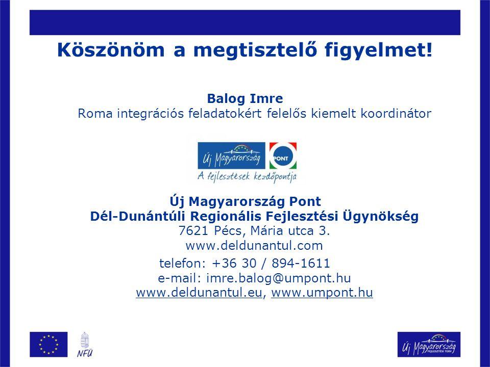 Köszönöm a megtisztelő figyelmet! Balog Imre Roma integrációs feladatokért felelős kiemelt koordinátor Új Magyarország Pont Dél-Dunántúli Regionális F