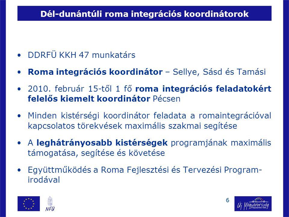 DDRFÜ KKH 47 munkatárs Roma integrációs koordinátor – Sellye, Sásd és Tamási 2010. február 15-től 1 fő roma integrációs feladatokért felelős kiemelt k