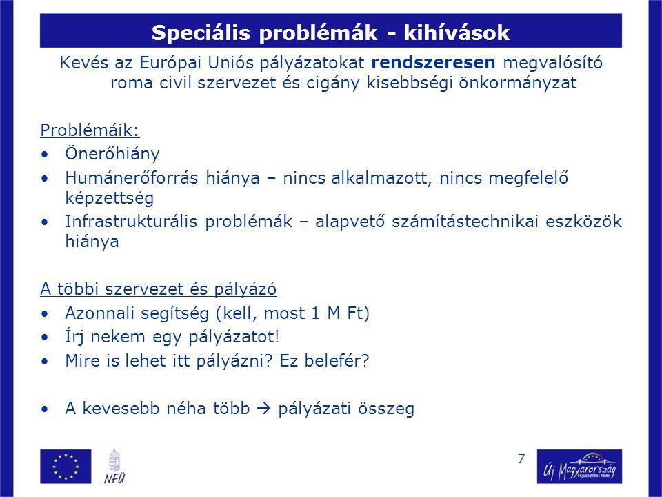 Speciális problémák - kihívások Kevés az Európai Uniós pályázatokat rendszeresen megvalósító roma civil szervezet és cigány kisebbségi önkormányzat Pr