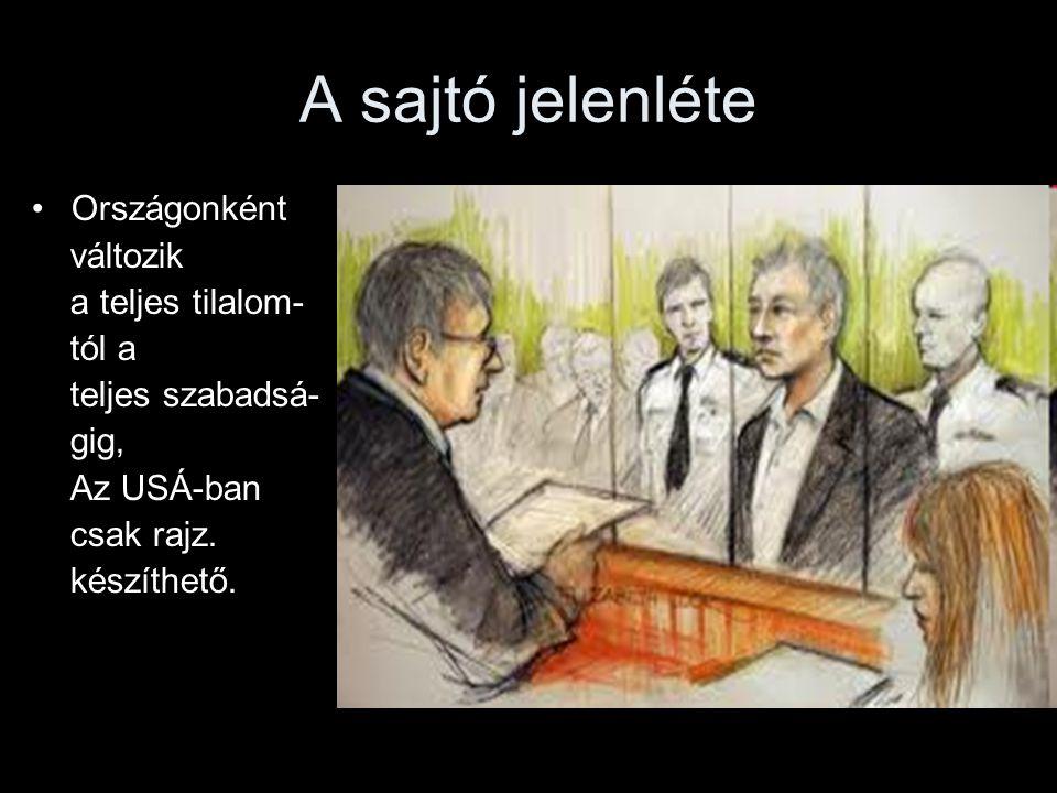 A sajtó jelenléte Országonként változik a teljes tilalom- tól a teljes szabadsá- gig, Az USÁ-ban csak rajz. készíthető.