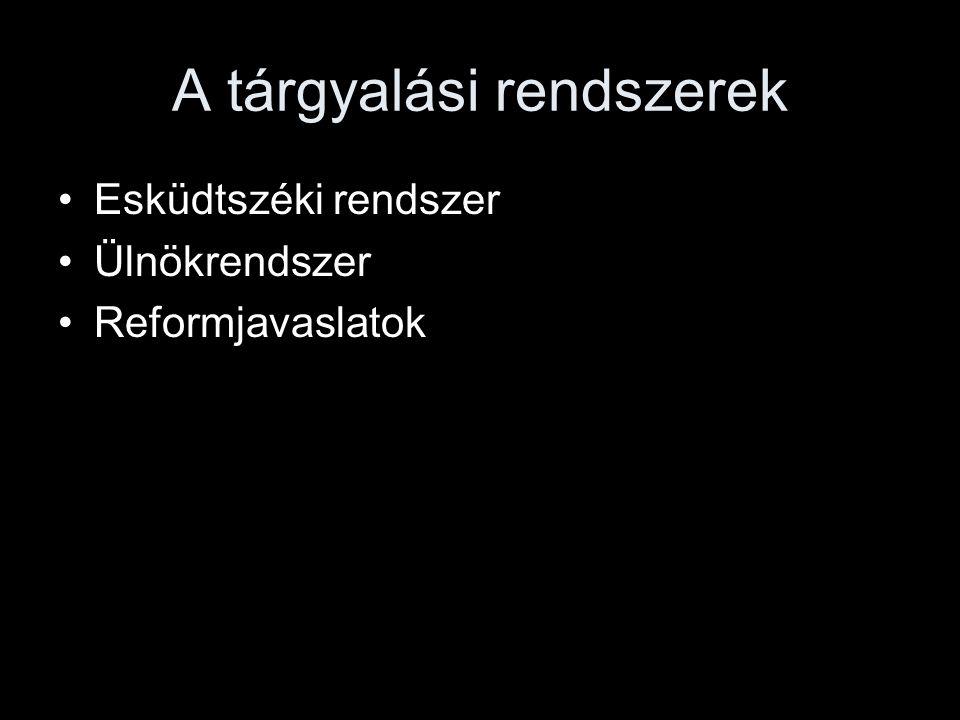 A tárgyalási rendszerek Esküdtszéki rendszer Ülnökrendszer Reformjavaslatok