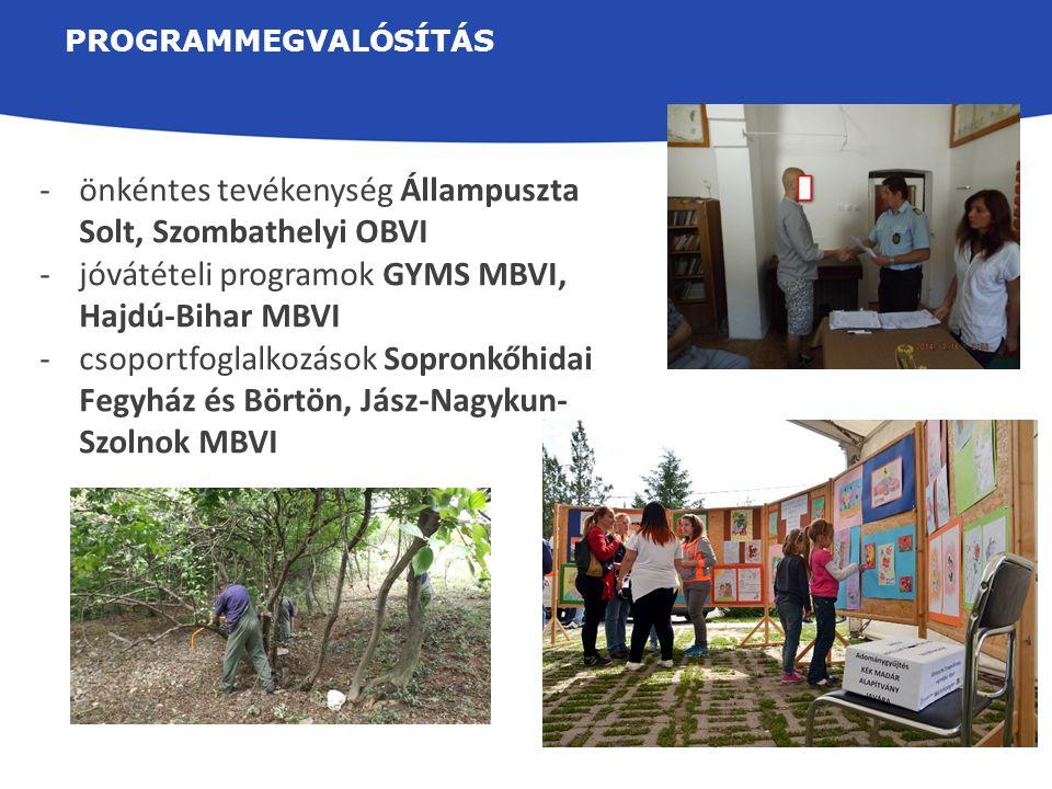 PROGRAMMEGVALÓSÍTÁS -önkéntes tevékenység Állampuszta Solt, Szombathelyi OBVI -jóvátételi programok GYMS MBVI, Hajdú-Bihar MBVI -csoportfoglalkozások