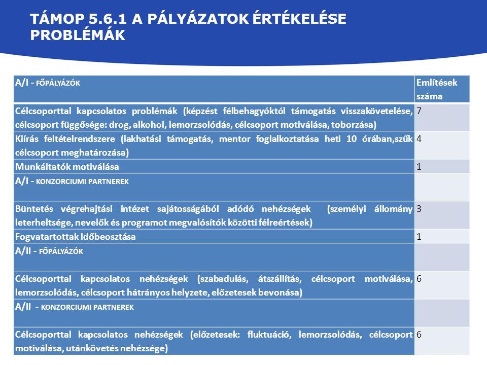 TÁMOP 5.6.1 A PÁLYÁZATOK ÉRTÉKELÉSE PROBLÉMÁK A/I - FŐPÁLYÁZÓK Említések száma Célcsoporttal kapcsolatos problémák (képzést félbehagyóktól támogatás v