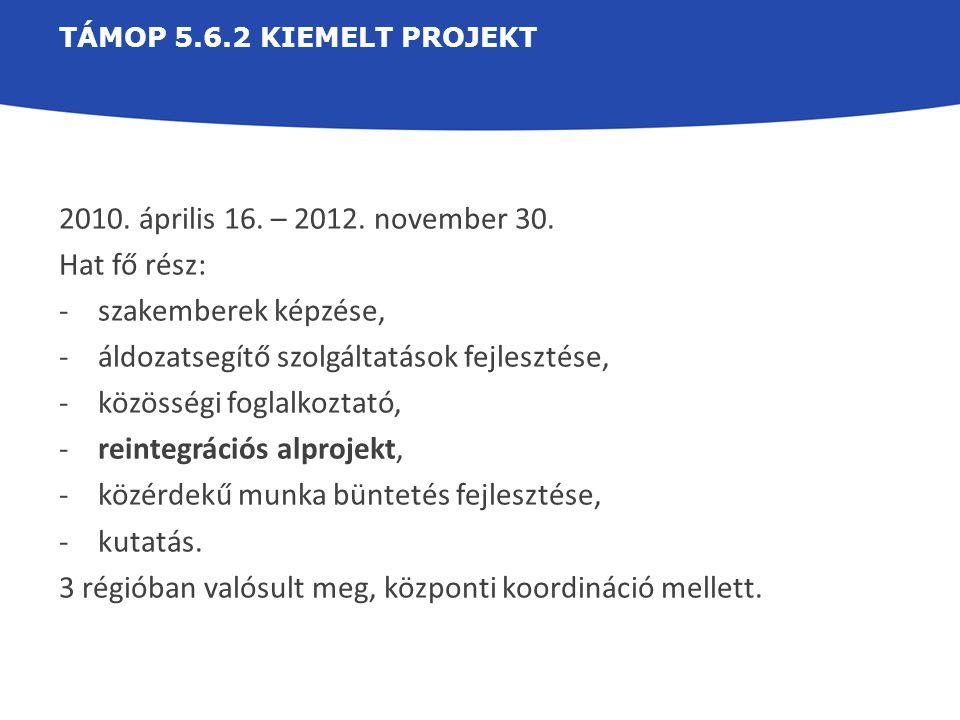 TÁMOP 5.6.2 KIEMELT PROJEKT 2010. április 16. – 2012. november 30. Hat fő rész: -szakemberek képzése, -áldozatsegítő szolgáltatások fejlesztése, -közö