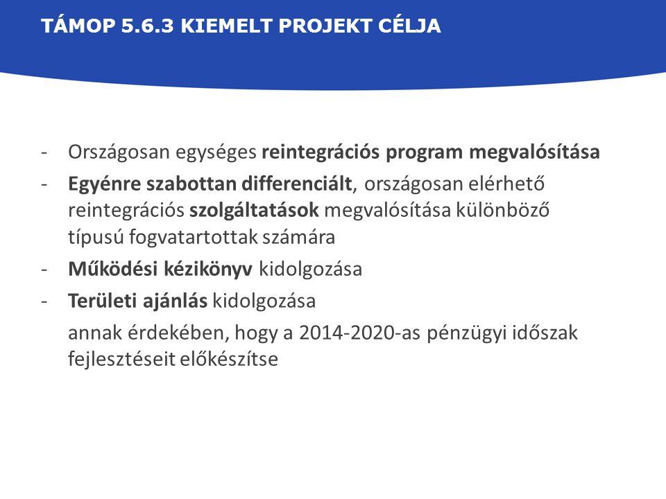 TÁMOP 5.6.3 KIEMELT PROJEKT CÉLJA -Országosan egységes reintegrációs program megvalósítása -Egyénre szabottan differenciált, országosan elérhető reint
