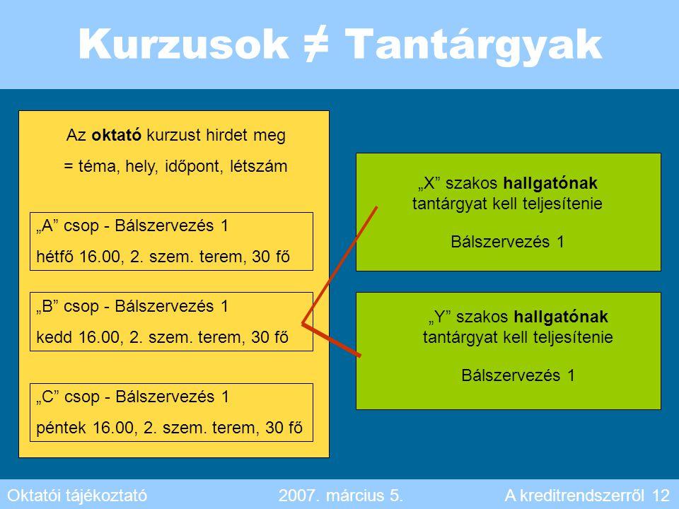 """Kurzusok ≠ Tantárgyak Az oktató kurzust hirdet meg = téma, hely, időpont, létszám """"A"""" csop - Bálszervezés 1 hétfő 16.00, 2. szem. terem, 30 fő """"B"""" cso"""