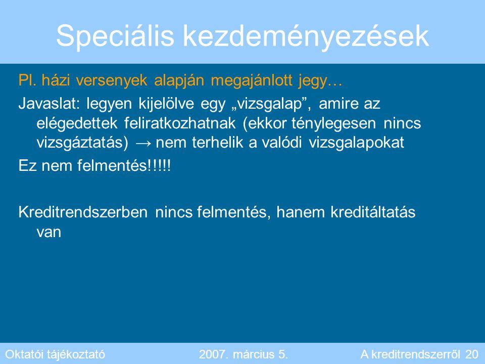 """Speciális kezdeményezések Pl. házi versenyek alapján megajánlott jegy… Javaslat: legyen kijelölve egy """"vizsgalap"""", amire az elégedettek feliratkozhatn"""