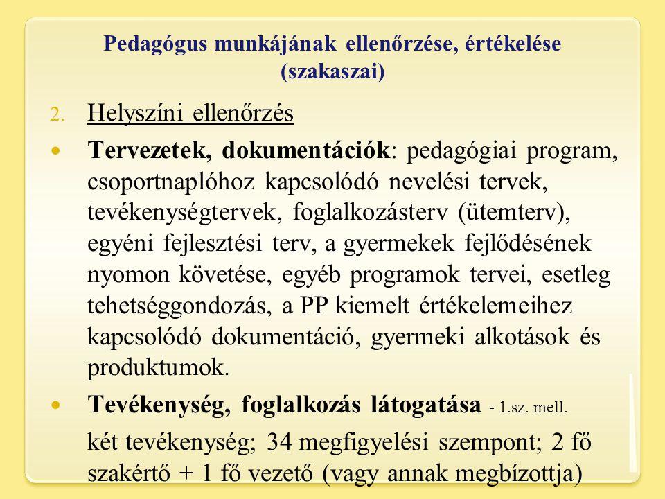 Pedagógus munkájának ellenőrzése, értékelése (szakaszai) 2.