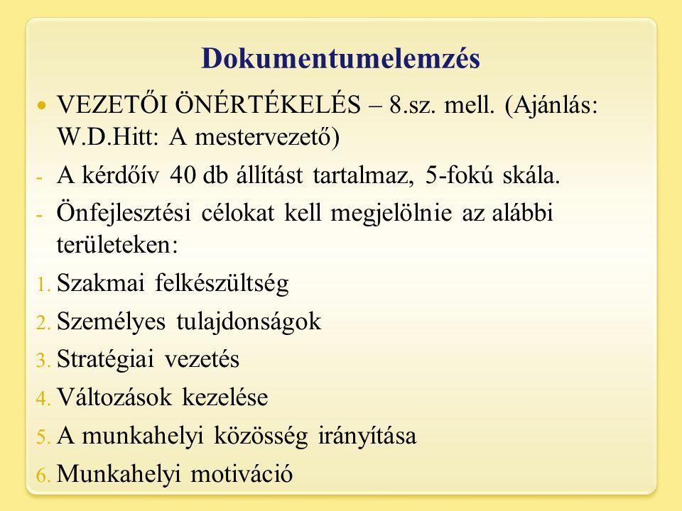 Dokumentumelemzés VEZETŐI ÖNÉRTÉKELÉS – 8.sz.mell.
