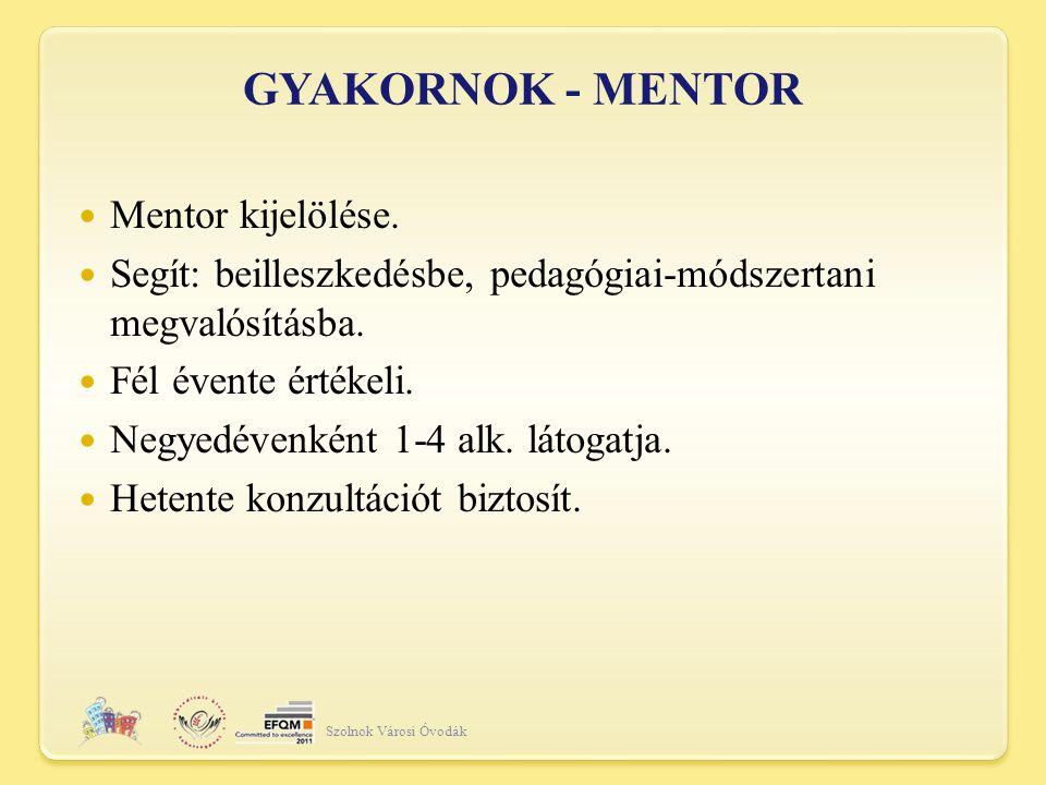 GYAKORNOK - MENTOR Szolnok Városi Óvodák Mentor kijelölése.