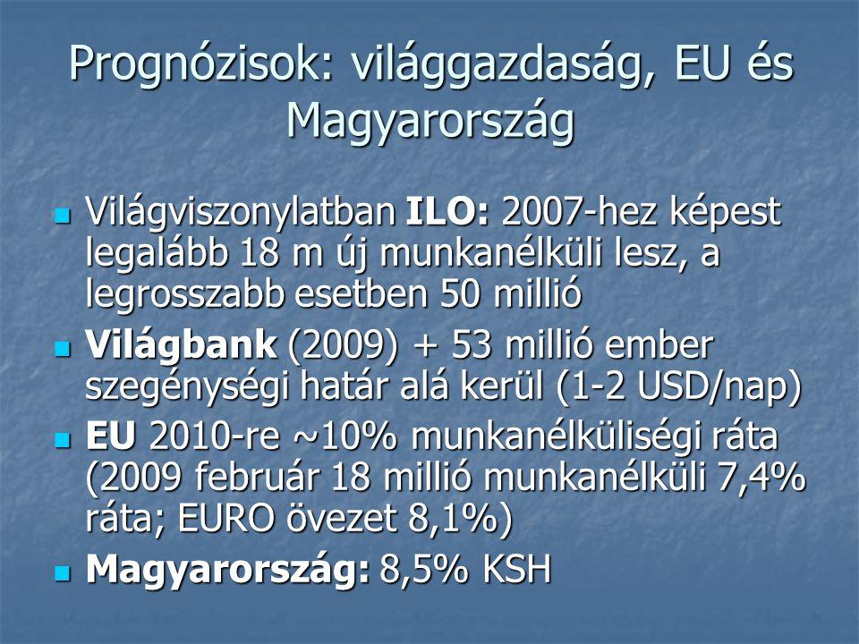 Prognózisok: világgazdaság, EU és Magyarország Világviszonylatban ILO: 2007-hez képest legalább 18 m új munkanélküli lesz, a legrosszabb esetben 50 millió Világviszonylatban ILO: 2007-hez képest legalább 18 m új munkanélküli lesz, a legrosszabb esetben 50 millió Világbank (2009) + 53 millió ember szegénységi határ alá kerül (1-2 USD/nap) Világbank (2009) + 53 millió ember szegénységi határ alá kerül (1-2 USD/nap) EU 2010-re ~10% munkanélküliségi ráta (2009 február 18 millió munkanélküli 7,4% ráta; EURO övezet 8,1%) EU 2010-re ~10% munkanélküliségi ráta (2009 február 18 millió munkanélküli 7,4% ráta; EURO övezet 8,1%) Magyarország: 8,5% KSH Magyarország: 8,5% KSH