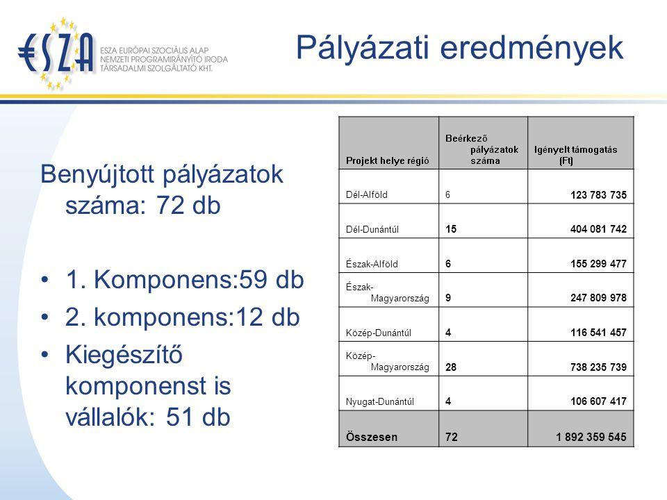 Pályázati eredmények Benyújtott pályázatok száma: 72 db 1.