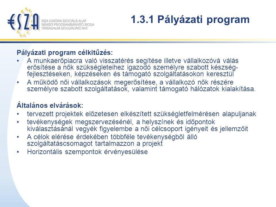 1.3.1 Pályázati program Pályázati program célkitűzés: A munkaerőpiacra való visszatérés segítése illetve vállalkozóvá válás erősítése a nők szükségleteihez igazodó személyre szabott készség- fejlesztéseken, képzéseken és támogató szolgáltatásokon keresztül A működő női vállalkozások megerősítése, a vállalkozó nők részére személyre szabott szolgáltatások, valamint támogató hálózatok kialakítása.