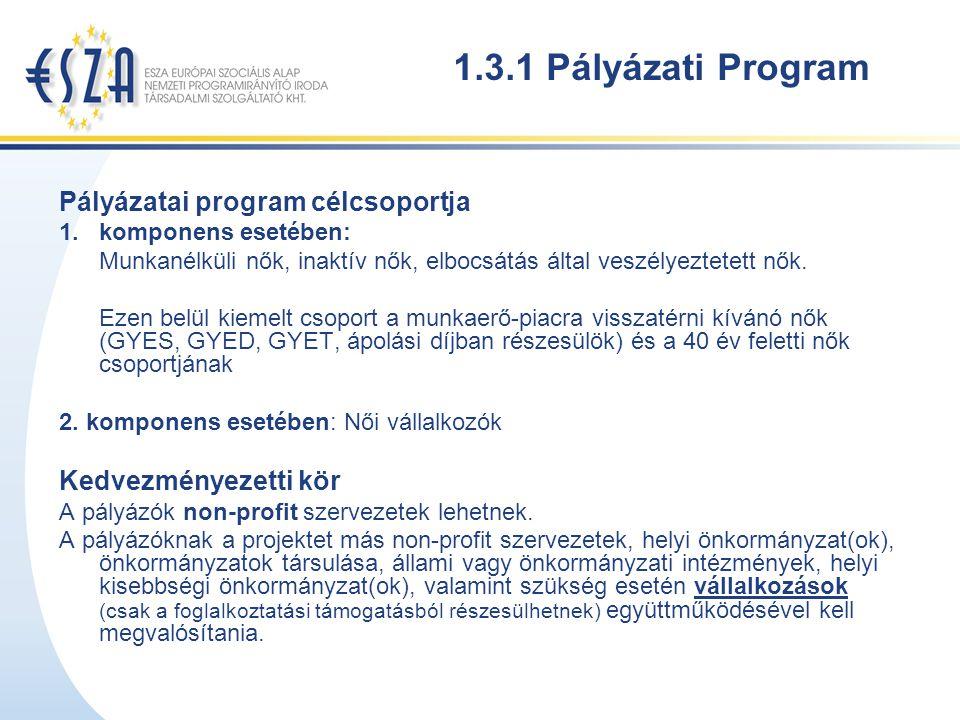 1.3.1 Pályázati Program Pályázatai program célcsoportja 1.komponens esetében: Munkanélküli nők, inaktív nők, elbocsátás által veszélyeztetett nők.