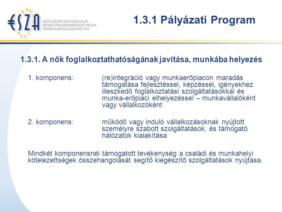 1.3.1 Pályázati Program 1.3.1. A nők foglalkoztathatóságának javítása, munkába helyezés 1.