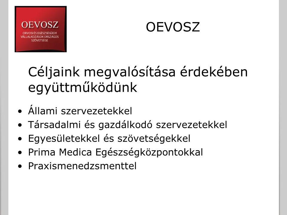 OEVOSZ Céljaink megvalósítása érdekében együttműködünk Állami szervezetekkel Társadalmi és gazdálkodó szervezetekkel Egyesületekkel és szövetségekkel Prima Medica Egészségközpontokkal Praxismenedzsmenttel