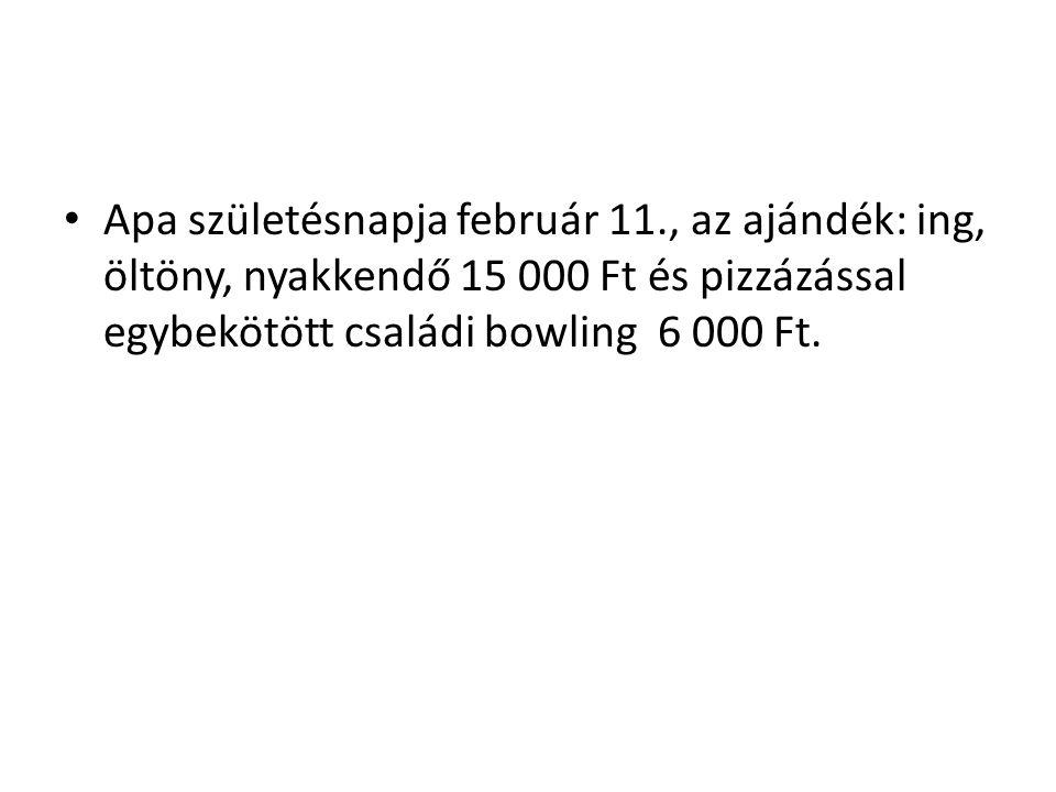 Apa születésnapja február 11., az ajándék: ing, öltöny, nyakkendő 15 000 Ft és pizzázással egybekötött családi bowling 6 000 Ft.
