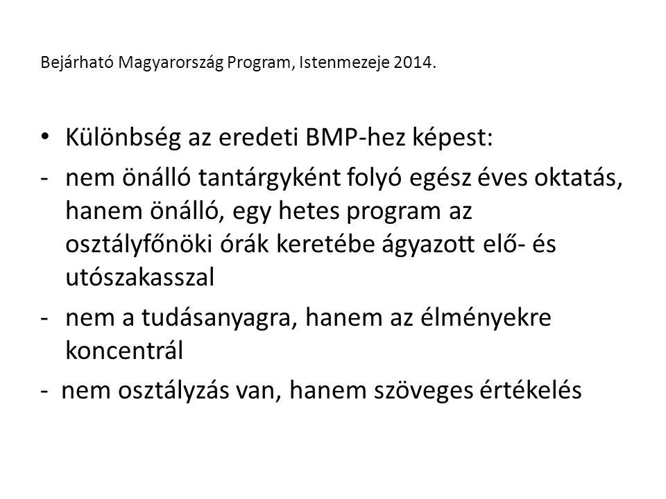 Különbség az eredeti BMP-hez képest: -nem önálló tantárgyként folyó egész éves oktatás, hanem önálló, egy hetes program az osztályfőnöki órák keretébe ágyazott elő- és utószakasszal -nem a tudásanyagra, hanem az élményekre koncentrál - nem osztályzás van, hanem szöveges értékelés Bejárható Magyarország Program, Istenmezeje 2014.