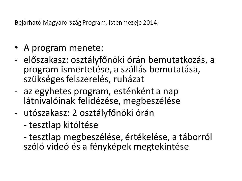 Tárgyi feltételek: -az egyesület saját háza (ingyenes szállás) -2 db 9 személyes kisbusz bérlése sofőr nélkül Anyagi feltételek: -Nemzeti Együttműködési Alap támogatása (500e) -kollégium heti étkezési normatívája (160e) -résztvevők befizetése nulla (egy főre eső költség 44e Ft lett volna támogatás nélkül) Bejárható Magyarország Program, Istenmezeje 2014.