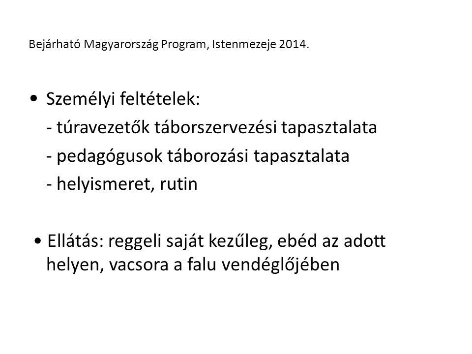 Személyi feltételek: - túravezetők táborszervezési tapasztalata - pedagógusok táborozási tapasztalata - helyismeret, rutin Ellátás: reggeli saját kezűleg, ebéd az adott helyen, vacsora a falu vendéglőjében Bejárható Magyarország Program, Istenmezeje 2014.
