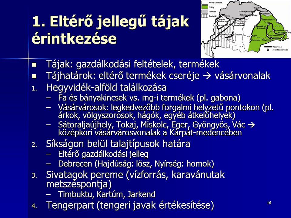 1010 1. Eltérő jellegű tájak érintkezése Tájak: gazdálkodási feltételek, termékek Tájak: gazdálkodási feltételek, termékek Tájhatárok: eltérő termékek