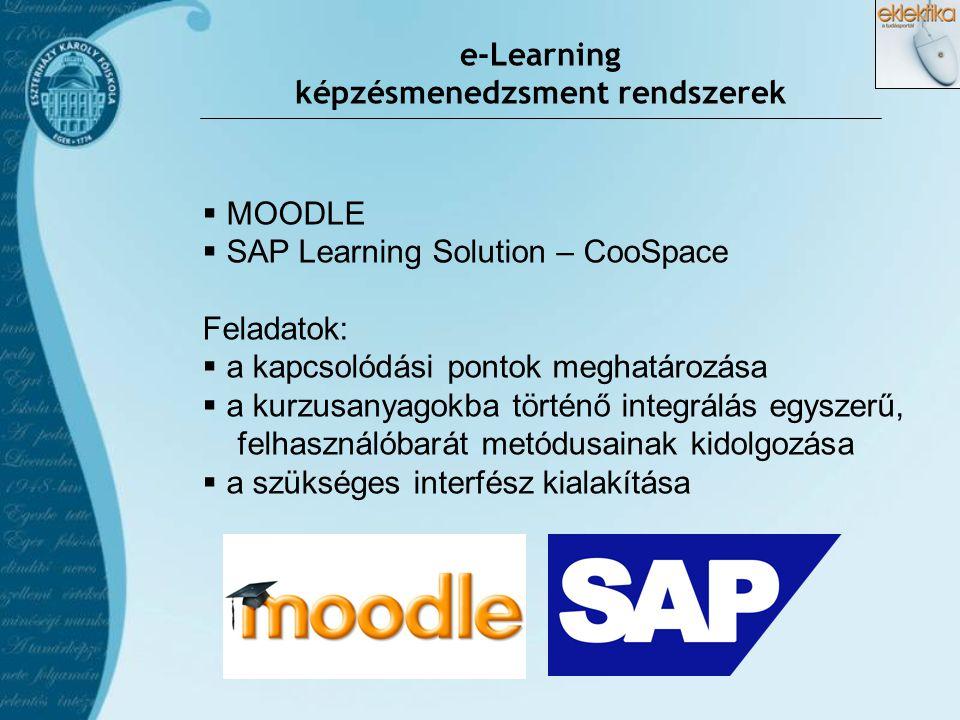 e-Learning képzésmenedzsment rendszerek  MOODLE  SAP Learning Solution – CooSpace Feladatok:  a kapcsolódási pontok meghatározása  a kurzusanyagok